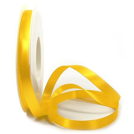 Satinband SINFINITY, hellgelb: 10mm breit / 25m-Rolle, mit feiner Webkante.