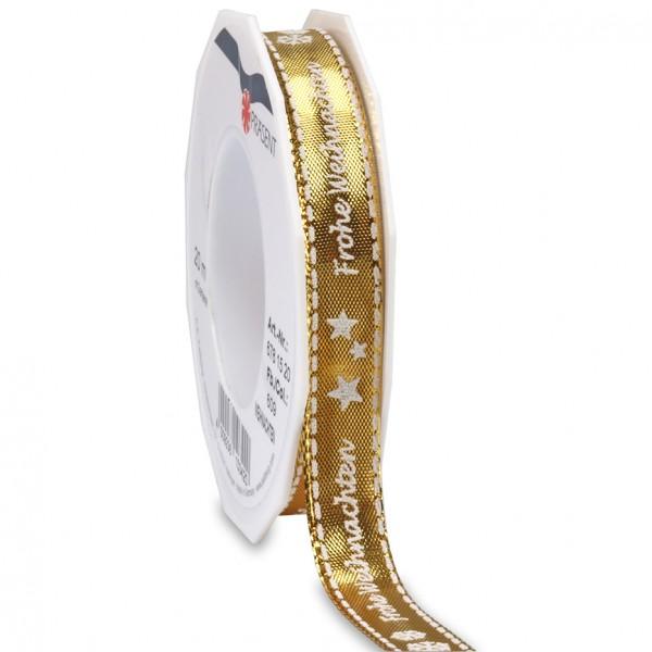 Weihnachten: 15mm breit / 20m, gold - mit Drahtkante