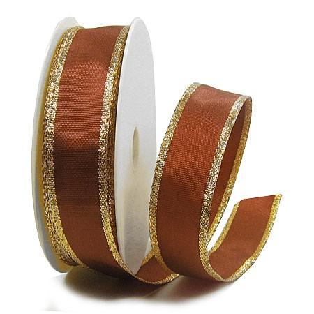 Dekoband Classic: 25mm breit / 25m, braun-gold
