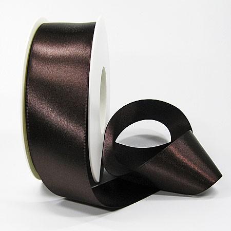 Satinband SINFINITY, dunkelbraun: 38mm breit / 25m-Rolle, mit feiner Webkante.