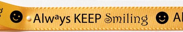 Satinband KEEP smiling: 15mm breit / 25m-Rolle, gelb