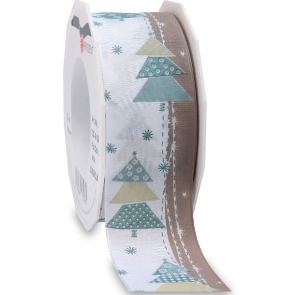 Weihnachtsband-BORGHOLM: 40mm breit / 20m-Rolle, mit Drahtkante, weiss-türkis