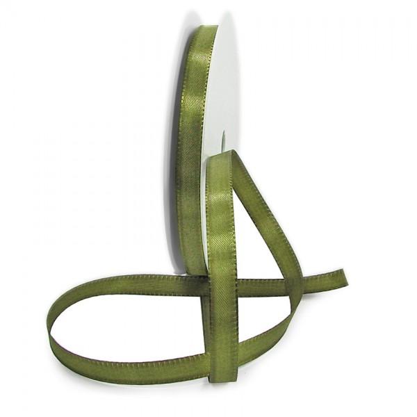 Taftband, moosgrün: 10mm breit / 50-Rolle, mit feiner Webkante