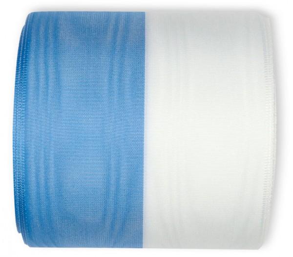 Vereinsband Schützenband, blau-weiss, 100mm breit / 25m-Rolle, mit Moiré-Struktur.
