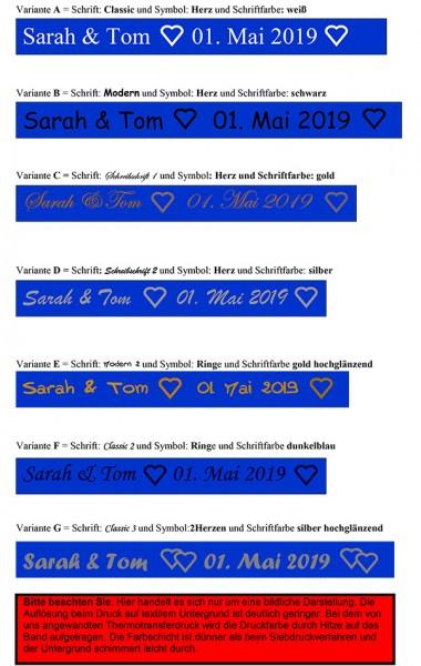 Schrift- und Farbauswahl royalblau, 15mm breit