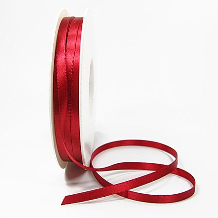 Satinband-SINFINITY, rot: 6mm breit / 50m-Rolle, mit feiner Webkante