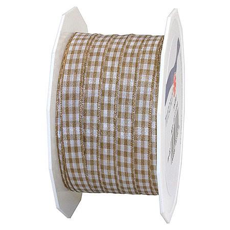 Vichy-Karoband, taupe-weiss: 10mm breit / 20m-Rolle