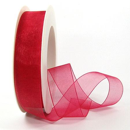 Organzaband, 25mm breit / 25m-Rolle, rot: 1250025042