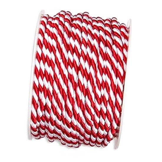 Kordel, rot-weiß: 4mm breit / 25m-Rolle.