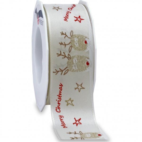Weihnachtsband-KOPENHAGEN: 40mm breit / 20m-Rolle, mit Webkante, CREME