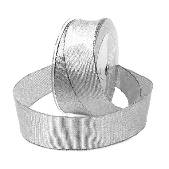 Silberband-BROKAT: 38mm breit / 25 Meter, mit Draht