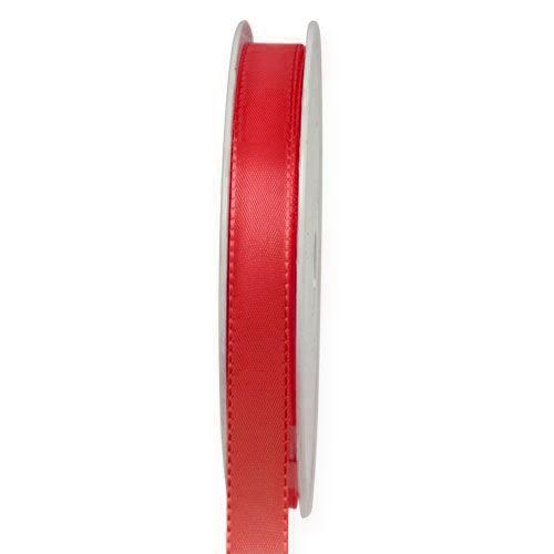 Taftband, rot: 10mm breit / 50-Rolle, mit feiner Webkante