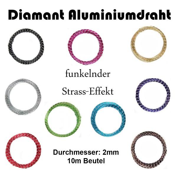 Diamant Aluminiumdraht mit Strasseffekt dia. 2mm / 10m-Beutel