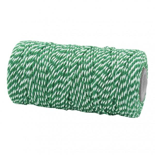 Bäckergarn, grün-weiß: 1,5mm breit / 100m-Rolle