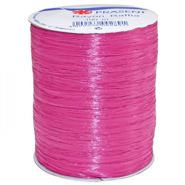 Raffia - RAYON, Bindebast: 5mm breit / 100m-Rolle, pink