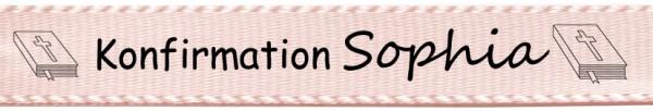 Beispiel Konfirmationsband, hellrosa: 15mm breit / 25m-Rolle