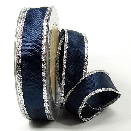 Dekoband Classic 25mm breit / 25m, dunkelblau-silber
