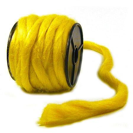 Filzwolle: gelb, 12mm Ø breit / 9m-Rolle