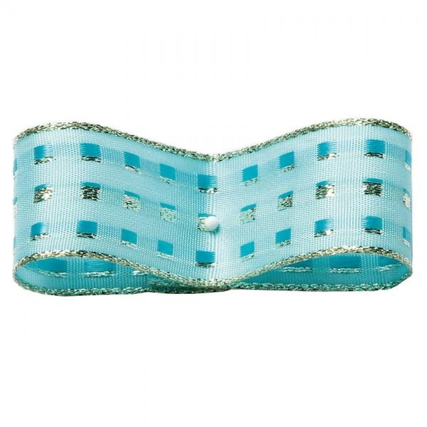 Dekorband-GLAMOUR, türkis-silber: 25mm breit / 25m-Rolle, mit Drahtkante