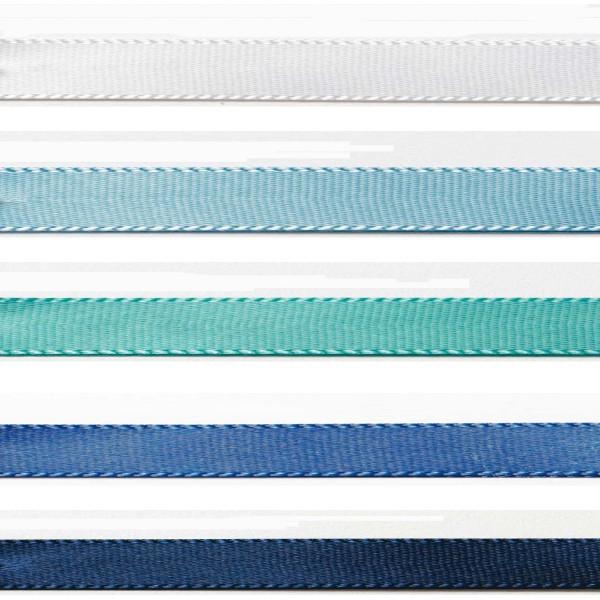 Satinband-Set blau: 5 Farben je 3m-Länge