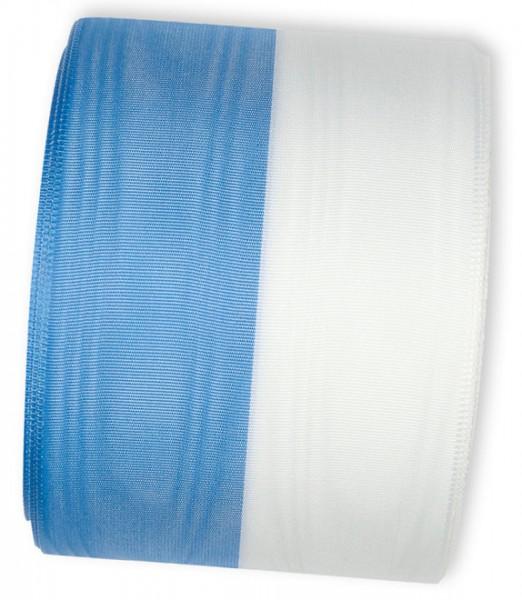 Vereinsband Schützenband, blau-weiss, 75mm breit / 25m-Rolle, mit Moiré-Struktur.