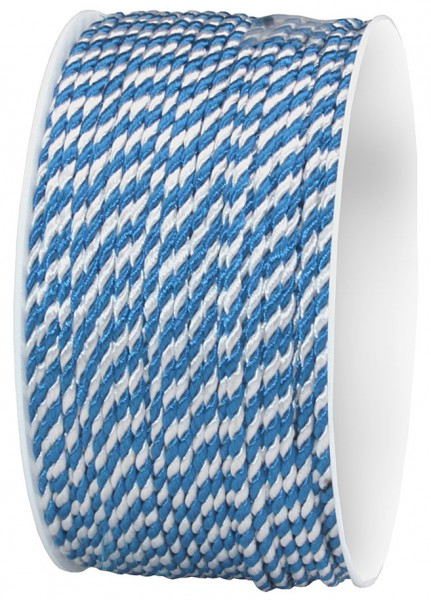 """Kordel, blau-weiß """"BAVARIA"""": 2mm breit / 50m-Rolle"""