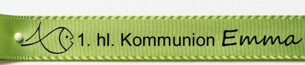 Beispiel Kommunionsband, lindgrün: 15mm breit / 25m-Rolle