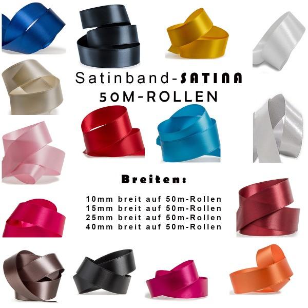 Satinband-SATINA Sonderlänge 50m-Rollen Breiten- und Farbauswahl
