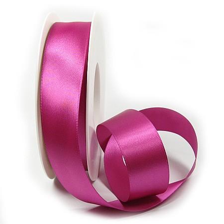 Satinband SINFINITY, pink: 25mm breit / 25m-Rolle, mit feiner Webkante.