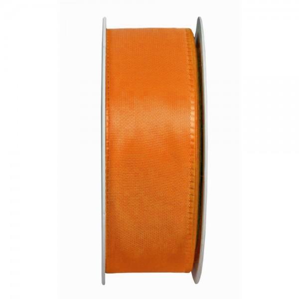 Taftband, orange: 40mm breit / 50m-Rolle, mit feiner Webkante.