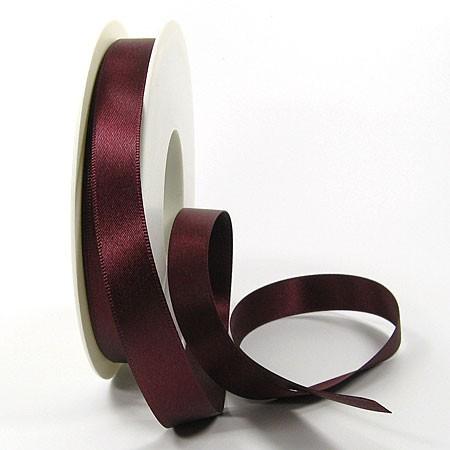 Satinband-SINFINITY, bordeaux: 15mm breit / 25m-Rolle, mit feiner Webkante