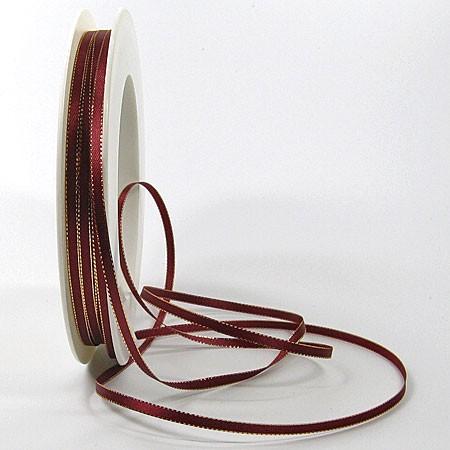 Satinband SINFINITY, weinrot-gold: 3mm breit / 50m-Rolle, mit feiner Webkante.