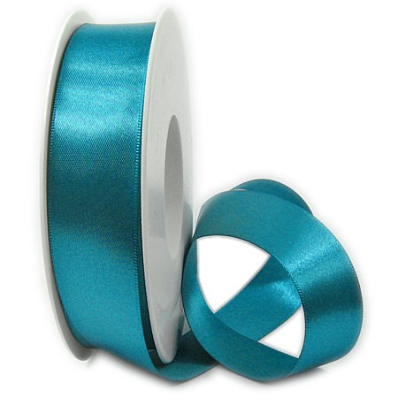 Satinband SINFINITY, dunkeltürkis: 25mm breit / 25m-Rolle, mit feiner Webkante.