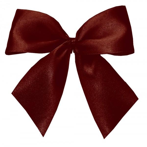 Fertigschleifen aus doppelseitigem Satinband, bordeaux mit 2 Flügeln: 25 Stück in Klarsicht-Box. Maße: von Flügel zu Flügel: ca. 10 cm