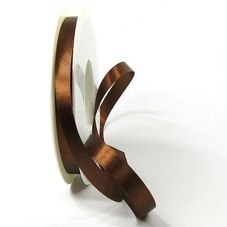 Satinband-SINFINITY, kaffeebraun: 10mm breit / 25m-Rolle, mit feiner Webkante