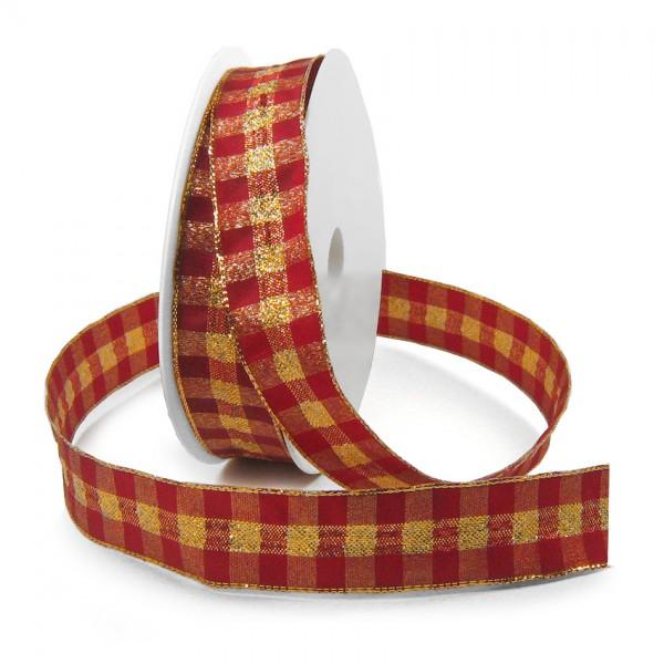 Karoband, rot-gold: 25mm breit / 25m-Rolle, mit Drahtkante