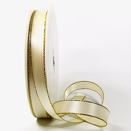 Satinband-VEGAS, mit Lurex-Goldkante: 15mm breit / 50m-Rolle, creme-gold