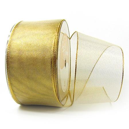 Goldband-TIMPEL, gold: 60mm breit / 25m-Rolle, mit Drahtkante