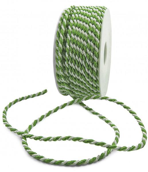 Kordel, grün-weiß 2-farbig gedreht: 4 mm breit / 25-Meter-Rolle