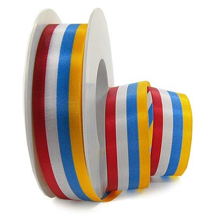 KARNEVAL-Dekorband: 25mm breit / 25m-Rolle, rot-weiß-blau-gelb