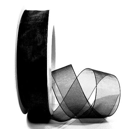 Organzaband mit Drahtkante, schwarz 25mm Trauerband
