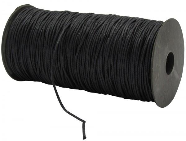 Gewachste Baumwollkordel, schwarz: 1,5 mm Ø breit / 200 Meter
