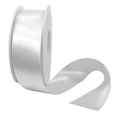 Satinband-SINFINITY, weiss: 38mm breit / 25m-Rolle, mit feiner Webkante