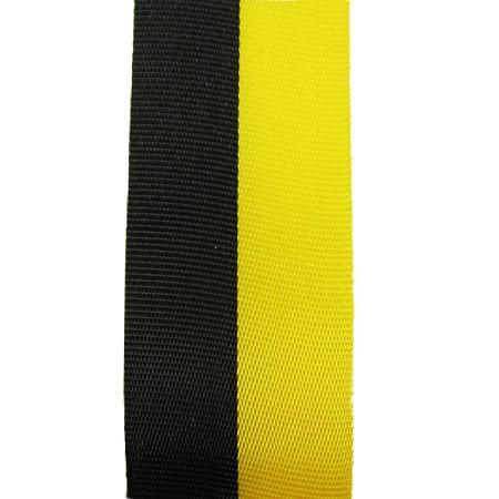 Vereinsband Schützenband, schwarz-gelb, 15mm breit / 25m-Rolle