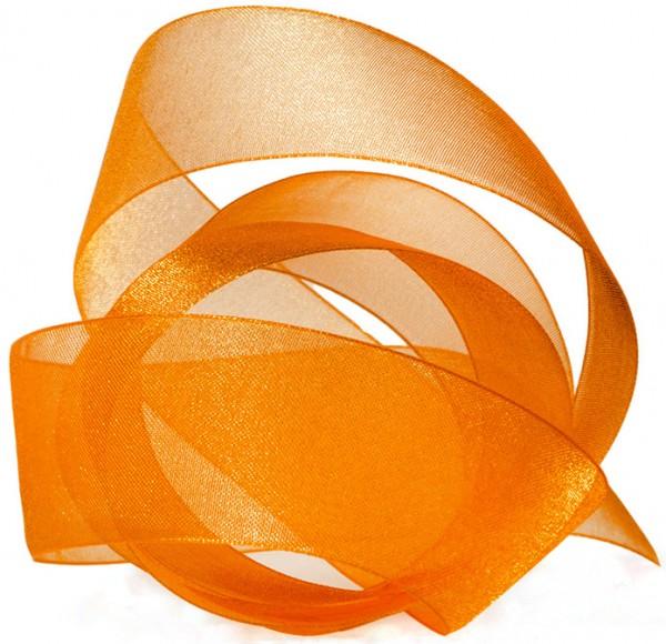 Organzaband-CHIFFON, orange: 40mm breit / 50m-Rolle, mit feiner Webkante.