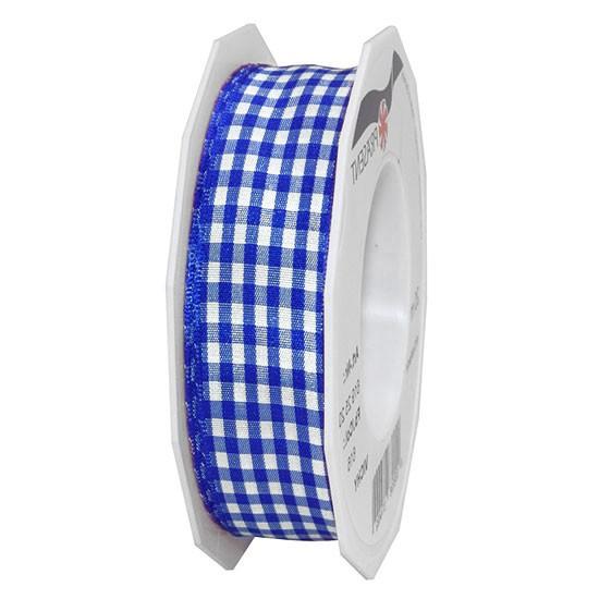Vichy-Karoband, blau-weiß: 25mm breit / 20m-Rolle