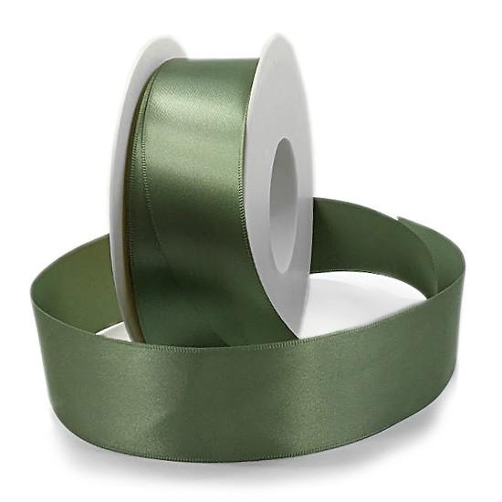 Satinband SINFINITY, olivgrün: 38mm breit / 25m-Rolle, mit feiner Webkante.