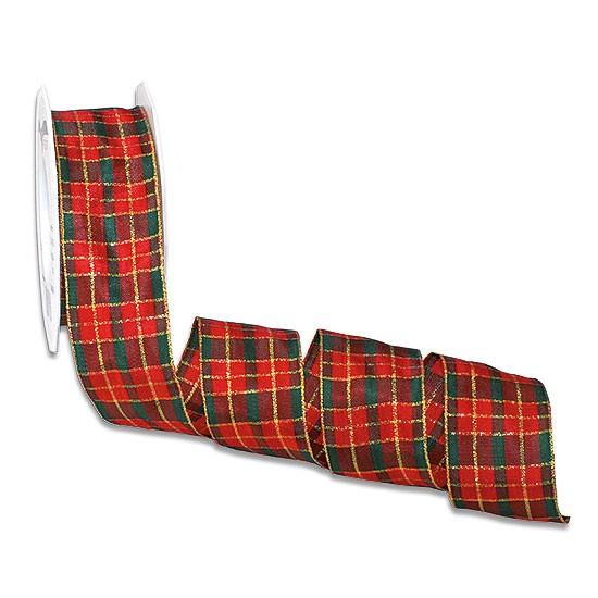 Weihnachtsband - GLASGOW: 40mm breit / 25m-Rolle, rot-grün-gold