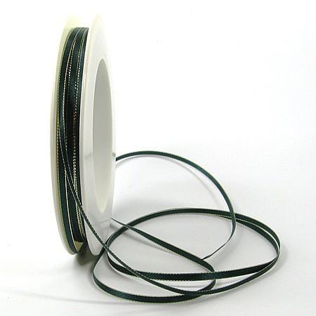 Satinband SINFINITY, tannengrün-gold: 3mm breit / 50m-Rolle, mit feiner Webkante.
