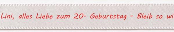 Wunschband individuell bedruckt.: 15mm breit - 5m-Länge: weiss